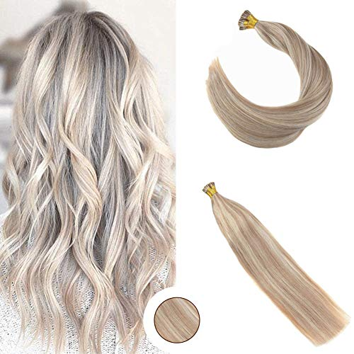 (Ugeat 24Inch 40Gram Pre Bonded Hair Extensions Pinao Color Stick Fusion Hair Extensions #18 Ash Blonde With Bleached Blonde #613 Human Hair Extensions Stick I Tip Extensions)