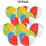 Inflatable Beach Balls - 12 Inch, Rainbow Colored - For Swimming Pools, Pool Party, Playing, Volleyball, Beach, Ocean, Kids, & Adults - Kidsco