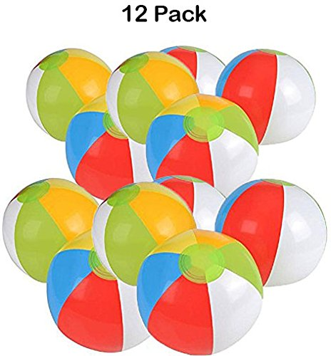 12 Pack - Inflatable Beach Balls - 12 Inch, Rainbow Colored - For Swimming Pools, Pool Party, Playing, Volleyball, Beach, Ocean, Kids, & Adults - (Blow Up Pool For Adults)