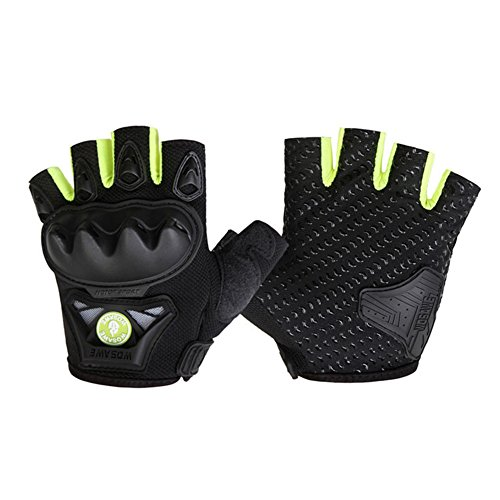 skyning Cycling Gloves,Cross-Road Riding Protection Short Finger Gloves Hard Shell Tactical Gloves for Bike Motorcycle For Men Women (black green, XL)