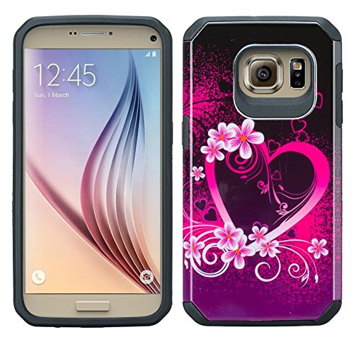 GALAXY WIRELESS for Galaxy S7 Case, Samsung Galaxy S7 Phone Case [Shock Absorption/Impact Resistant] Cute Girl Women Hybrid Dual Layer Defender Protective Case Cover Hot Pink Heart Sensation Hybrid