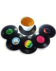 CoWalkers Posavasos de discos de vinilo,6 piezas con etiquetas divertidas y coloridas | Perfecto para los amantes de la música clásica