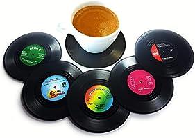CoWalkers Posavasos de discos de vinilo,6 piezas con etiquetas divertidas y coloridas | Perfecto para los amantes de la...