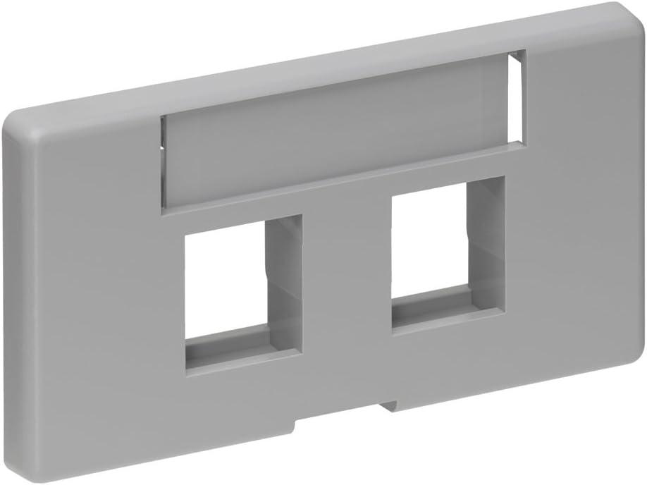 Leviton 49910-SE2 QuickPort Modular Furniture Faceplate 2-Port Black.