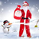 VeMee Santa Claus Costumes For Boys Christmas Santa Suits Outfits For Kids (5-9 Years)