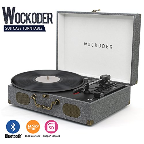 Turntable Vinyl Record Player Classic Suitcase Record Vinyl Turntable Player LP Bluetooth USB SD Play Built-in Speakers (Gray)