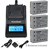 Kastar Ultra Fast Charger(3X faster) Kit and Battery (3-Pack) for Canon NB-10L, CB-2LC work with Canon PowerShot G1 X, PowerShot G15, PowerShot G16, PowerShot SX40 HS, PowerShot SX50 HS, PowerShot SX60 HS Digital Cameras [Over 3x faster than a normal charger with portable USB charge function]