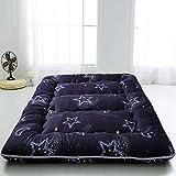 Black Moon and Star Futon Mattress, Japanese Floor Mattress Folding Tatami Floor Mat Portable Camping Mattress Kids Sleeping Pad Floor Lounger Couch Bed, Thickness:8CM, Twin Size