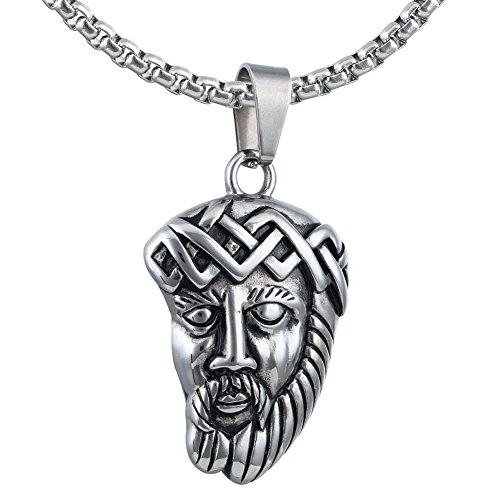 Large Heavy Silver Tone Head of Christ Jesus Medals Stainless Steel Necklace + Rolo (Jesus Christ Head)