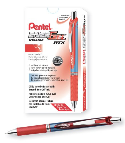 Pentel EnerGel Deluxe RTX Retractable Liquid Gel Pen, Medium Line, Needle Tip, Red Ink, Box of 12 (BLN77-B) (Pentel Red Pen Retractable)