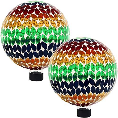 Sunnydaze Mosaic Gazing Globe Glass Garden Ball, Outdoor Lawn and Yard Ornament, Multi, 10 Inch, Set of 2 by Sunnydaze Decor
