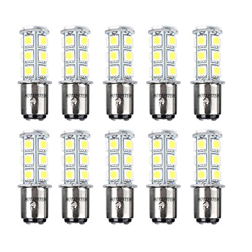 HOTSYSTEM LED Light Bulbs 1157 BAY15D P21/5W 2357 DC12V 18-5050 SMD for Car RV SUV Camper Trailer Trunk Interior Reversing Backup Tail Turn Signal Parking Side Marker Lights(Warm White,Pack of 10)