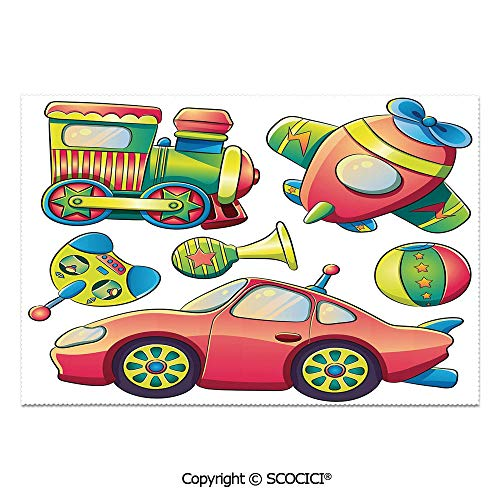 SCOCICI Place Mats Set of 6 Personalized Printed Non-Slip Table Mats Funny Transportation Toys with Train Car Airplane Horn Balls Auto Tire Cartoon Design for Dining Room Kitchen Table Decor -