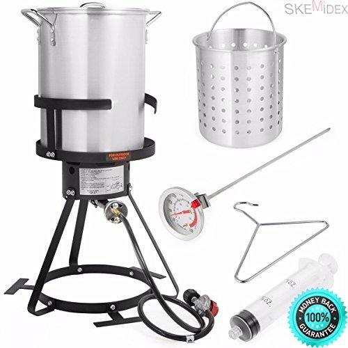 SKEMIDEX---6pc Gas stove Turkey deep Fryer Kit Aluminum Pot Outdoor Propane Backyard 30Qt And charcoal smoker grills bbq grill wood smoker grill best smoker grill combo weber grills bbq smoker (Turkey 30 Fryer Deep Quart)