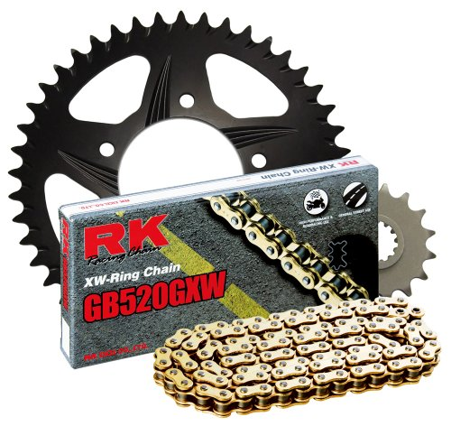 - RK Racing Chain 4107-041RK Black Aluminum Rear Sprocket and GB520GXW Chain 520 Race Conversion Kit