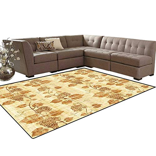 Vineyard Anti-Skid Area Rugs Cuisine Figure Ancient Egyptian Papyrus Like Parchment Aged Crumpled Artistic Display Customize Door mats for Home Mat 6'x8' Cream -