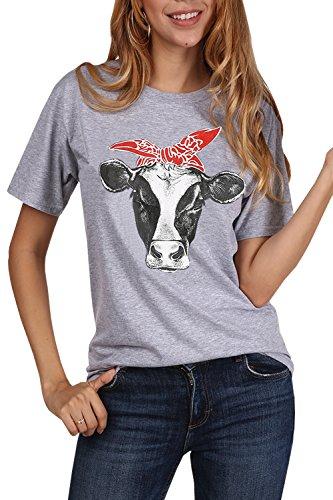719ba3c43fc JOYCHEER Womens Cow Shirts Summer Short Sleeve Funny Cute T-Shirts Casual  Loose Tee Tops