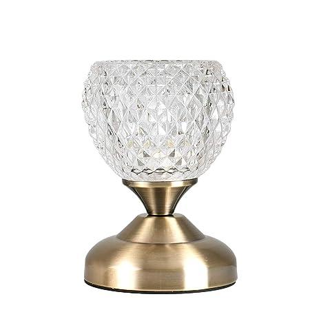MiniSun - Lámpara de mesa moderna y táctil Claire - en latón antiguo y cristal tallado decorativo