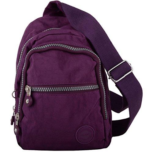Nylon Plum Ruck Shoulder Backpack Small Sack Mens Bag Womens apqROxnE