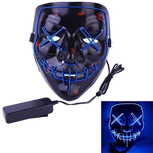 Matoen Halloween LED Light Mask for Festival Cosplay Halloween Costume Illuminating Mask (A, Blue) -