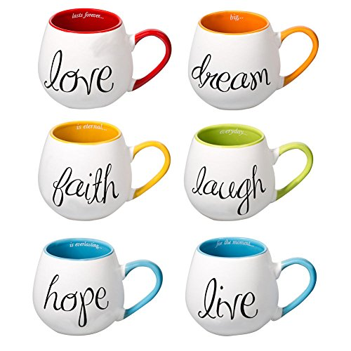 Inspired Words Colorful Ceramic Mugs - Set Of Six