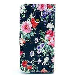 Funda de cuero negro de la flor de Rose del patrón de la PU con ranura para tarjetas y soporte para Samsung Galaxy S4 mini-I9190
