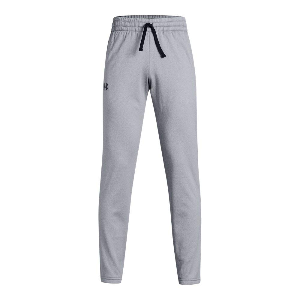 Under Armour Boys' Armour Fleece Pants, Steel Light Heather (035)/Black, Youth Small by Under Armour