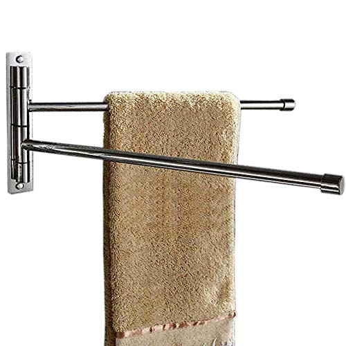(Hiendure 304 Stainless Steel Swing Out Towel Bar Rod Folding Arm Swivel Towel Rack Hanger Holder Bathroom Kitchen Storage Organizer Rustproof Wall Mount Towel Rail, Brushed Finish)