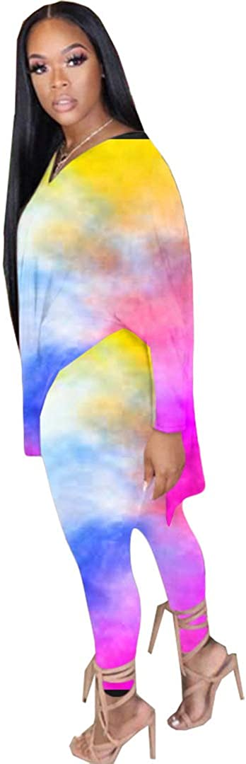 Skinny Long Pants Sets Tracksuit Tie Dye Lounge Wear Plus Size Two Piece Outfits for Women Oversized Tops
