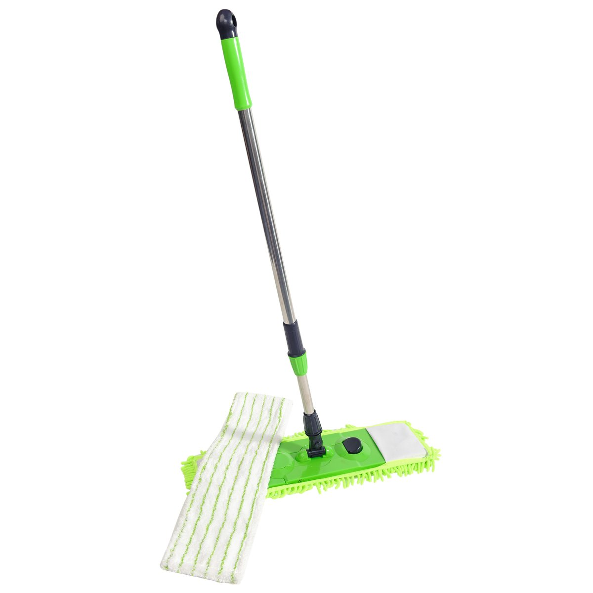 NFHOME 24'' Flip Floor Mop, Professional Microfiber Flat Mop With Telescopic Pole Height Max 50'' and 1 Extra Chenille Flip Mop Refill for Hardwood, Laminate and Tile Flooring, Green