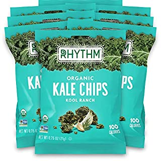 Rhythm Superfoods Kale Chips, Kool Ranch, Organic and Non-GMO, 0.75 Oz (Pack of 8) Single Serves, Vegan/Gluten-Free Superfood Snacks