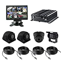 TrackSec 4 Channel AHD 720P HDD Mobile DVR Recorder with G-sensor Car Black Box Kit - 4PCS 720P Car Cameras, 7 inch Car Monitor, Video Extension Cords and More