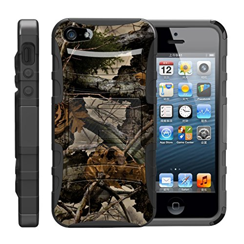 - TurtleArmor | Compatible for Apple iPhone SE Case | iPhone 5/5s Case [Hyper Shock] Hybrid Dual Layer Armor Holster Belt Clip Case Kickstand - Tree Leaves Camouflage