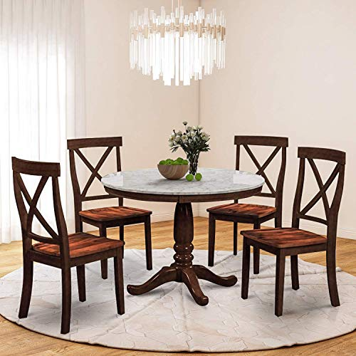 Harper&Bright Designs 5 Piece Round Dining Set with 4 Chairs Wood Dining Table Set (Espresso) (Chair Round Room Dining)