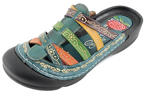 Corkys Womens Elite Rock Hand Painted Slide-On Bump Toe Leather