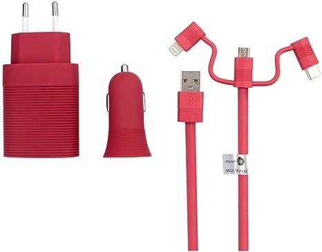 Muvit Life Pack Cargador de Coche USB+Cargador de casa USB+Cable 3 en 1 Micro USB, Tipo C y Lightning Rojo: Amazon.es: Electrónica