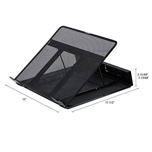 DESIGNA Mesh Metal Ventilated Adjustable Laptop Stand for Desk Notebook Tablet Black by DESIGNA (Image #1)