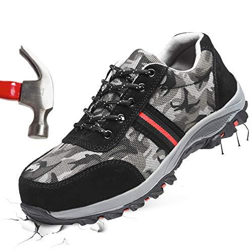 Barerun Unisex Steel Toe Work Shoes Puncture Proof Safety Shoes Men Women Steel Toe Shoes Green 13 M US Women / 11 M US Men ()