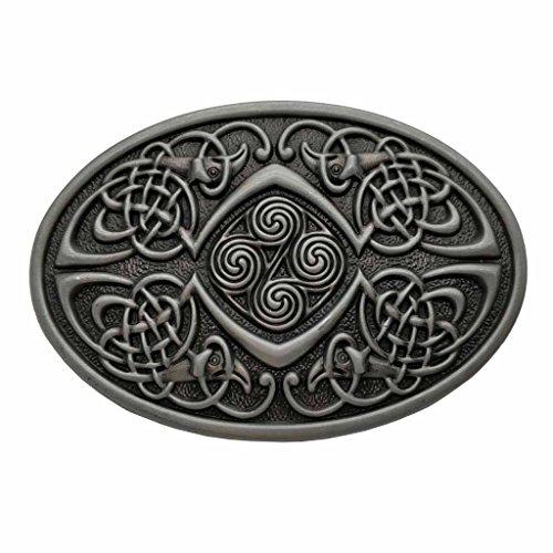 Oval Belt Mens Buckle - Celtic Knot Oval Belt Buckle Grey