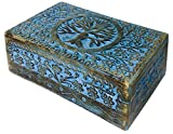 vrinda Wooden Hand Carved Tree of Life Box 8 inch x 5 inch.