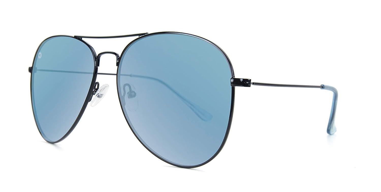 08875141b8 Amazon.com  Knockaround Mile Highs Polarized Aviator Sunglasses With Black  Metal Frames Blue Reflective Lenses  Clothing