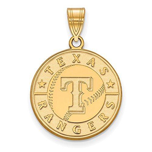 Texas Rangers Logo Large Disc Pendant (Gold Plated Sterling (Texas Rangers Logo Pendant)