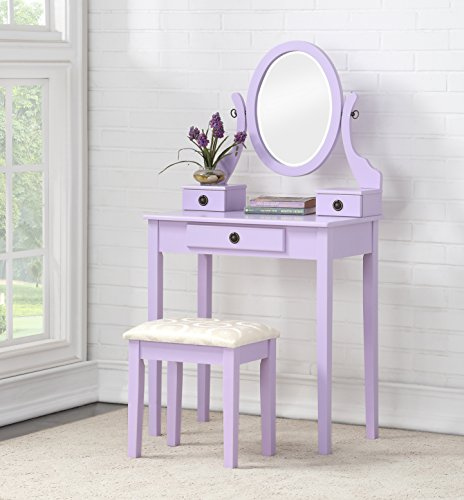 Roundhill Furniture 3415PL Moniys Wood Moniya Makeup Vanity Table and Stool Set, Purple by Roundhill Furniture
