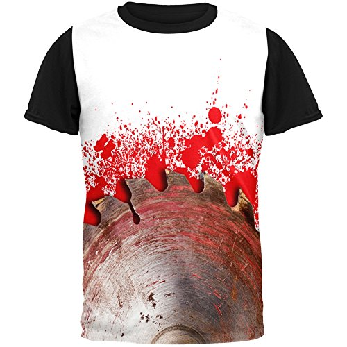 Halloween Bloody Saw Blade Massacre Adult Black Back T-Shirt - -