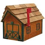 Log Cabin Look Mailbox Cedar Finish With Green Trim Amish Made In USA
