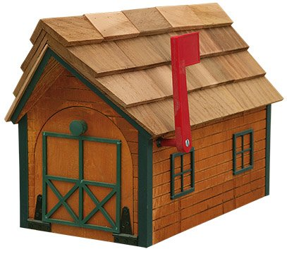 Log Cabin-look Mailbox Cedar Finish with Green Trim Amish Made in USA
