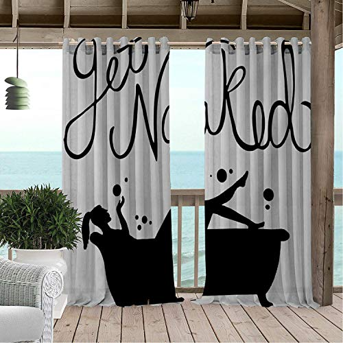 Linhomedecor Patio Waterproof Curtain Get Naked Beauty Bathtub Bubbl g Porch Grommet Patterned Curtains 108 by 84 inch