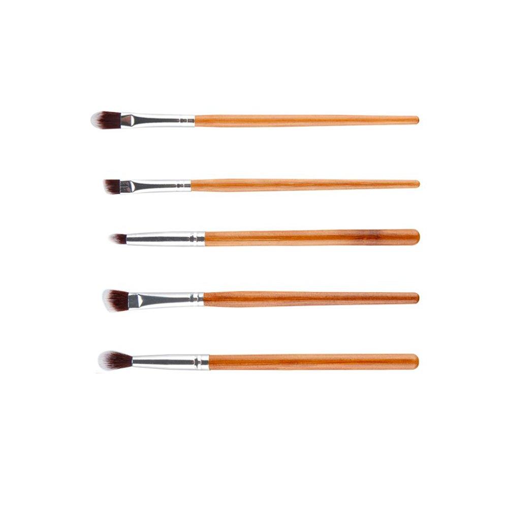 5pcs Bamboo Handle Eye Starter Kit Crease/Eyeshadow/Eyeliner Makeup Brushes Generic