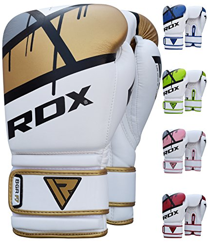 RDX Maya Hide Gel Sparring Leather Boxing Gloves, Golden, 14oz