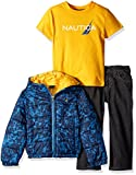 Nautica Little Boys' Toddler Three Piece Outerwear Set with Puffer Jacket Tee and Denim Jean, Sport Navy, 2T